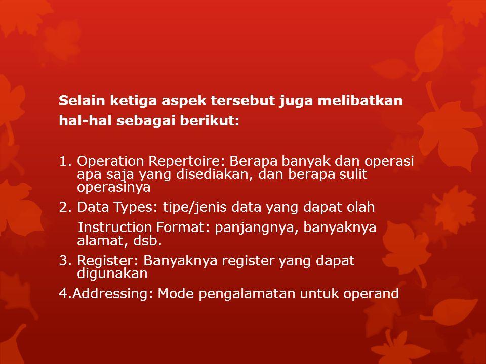 FORMAT INSTRUKSI  Suatu instruksi terdiri dari beberapa field yang sesuai dengan elemen dalam instruksi tersebut.