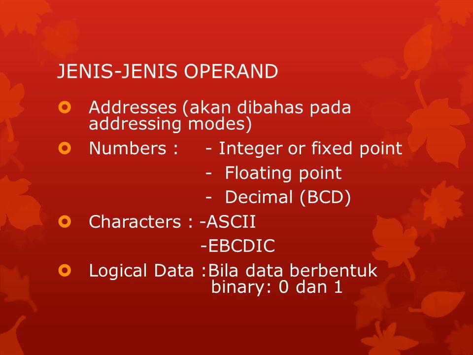 JENIS INSTRUKSI 1.Data processing: Arithmetic dan Logic Instructions 2.Data storage: Memory instructions 3.Data Movement: I/O instructions 4.Control: Test and branch instructions