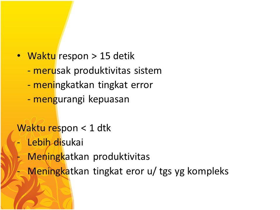 Waktu respon > 15 detik - merusak produktivitas sistem - meningkatkan tingkat error - mengurangi kepuasan Waktu respon < 1 dtk -Lebih disukai -Meningk