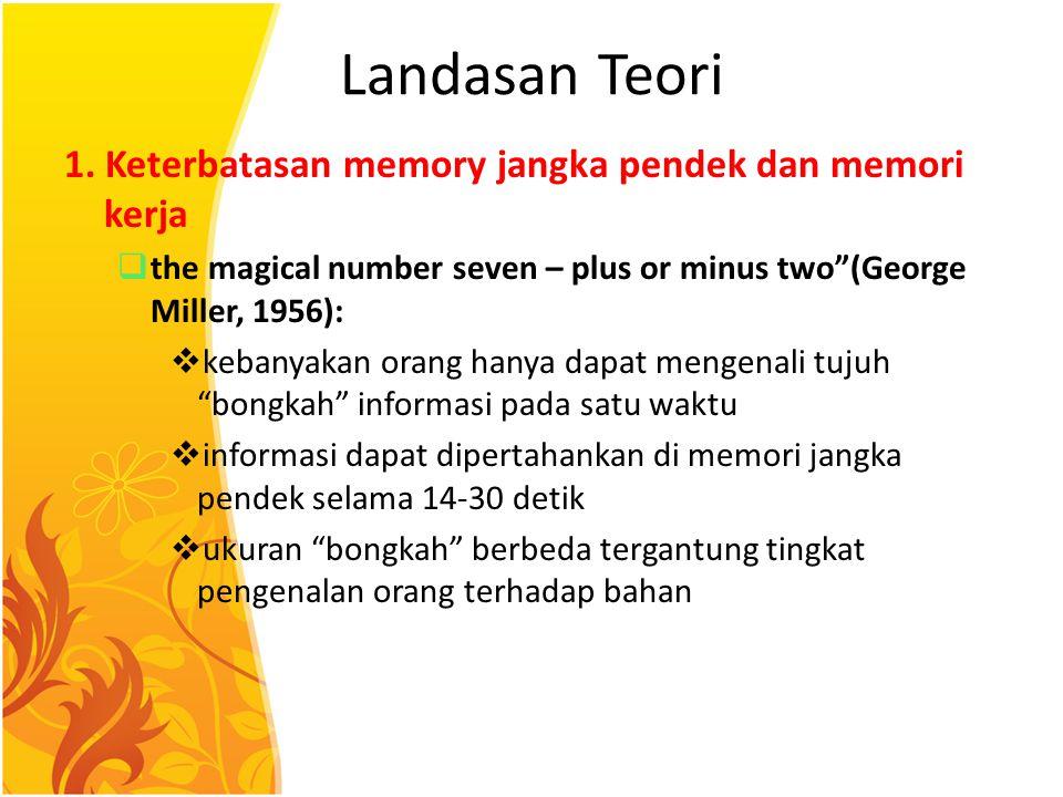 """Landasan Teori 1. Keterbatasan memory jangka pendek dan memori kerja  the magical number seven – plus or minus two""""(George Miller, 1956):  kebanyaka"""