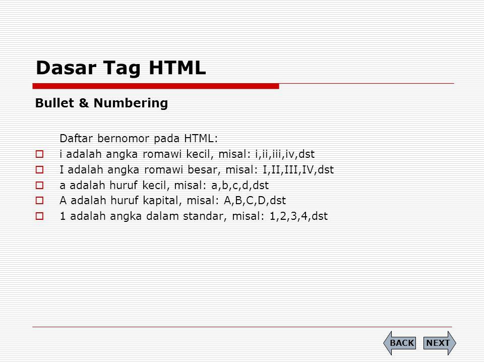 Dasar Tag HTML Bullet & Numbering Daftar bernomor pada HTML:  i adalah angka romawi kecil, misal: i,ii,iii,iv,dst  I adalah angka romawi besar, misal: I,II,III,IV,dst  a adalah huruf kecil, misal: a,b,c,d,dst  A adalah huruf kapital, misal: A,B,C,D,dst  1 adalah angka dalam standar, misal: 1,2,3,4,dst NEXTBACK