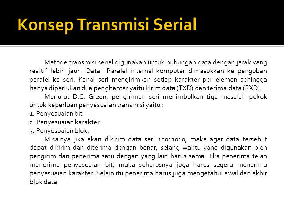 Metode transmisi serial digunakan untuk hubungan data dengan jarak yang realtif lebih jauh. Data Paralel internal komputer dimasukkan ke pengubah para