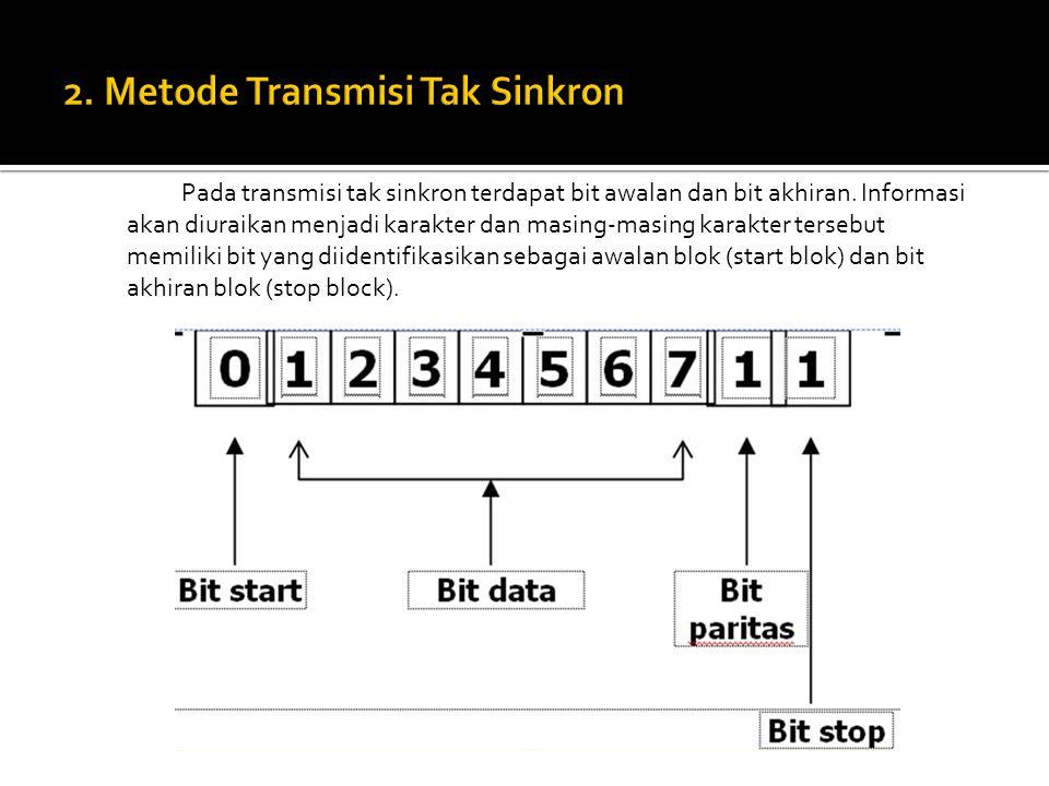 Pada transmisi tak sinkron terdapat bit awalan dan bit akhiran. Informasi akan diuraikan menjadi karakter dan masing-masing karakter tersebut memiliki