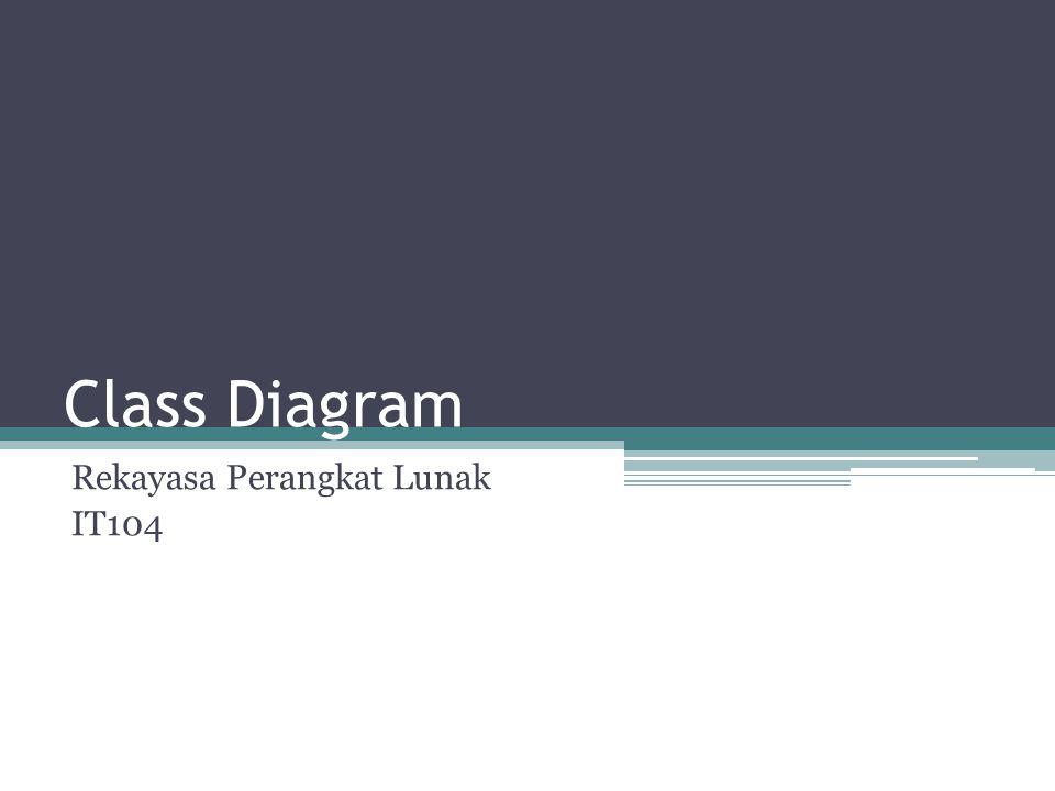 Class Diagram Class adalah sebuah spesifikasi yang jika diinstansiasi akan menghasilkan sebuah objek dan merupakan inti dari pengembangan dan desain berorientasi objek.