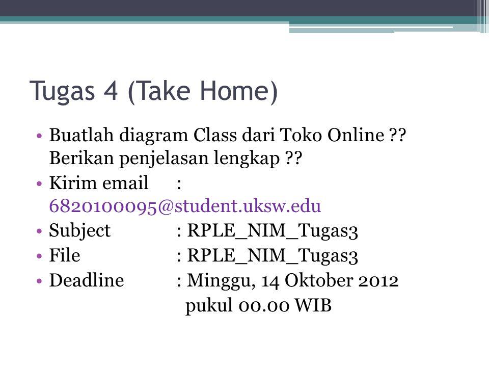 Tugas 4 (Take Home) Buatlah diagram Class dari Toko Online ?.