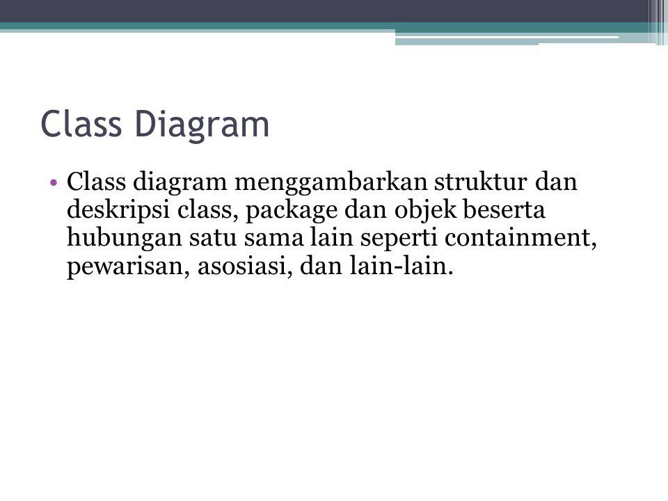 Class Diagram Class diagram menggambarkan struktur dan deskripsi class, package dan objek beserta hubungan satu sama lain seperti containment, pewarisan, asosiasi, dan lain-lain.