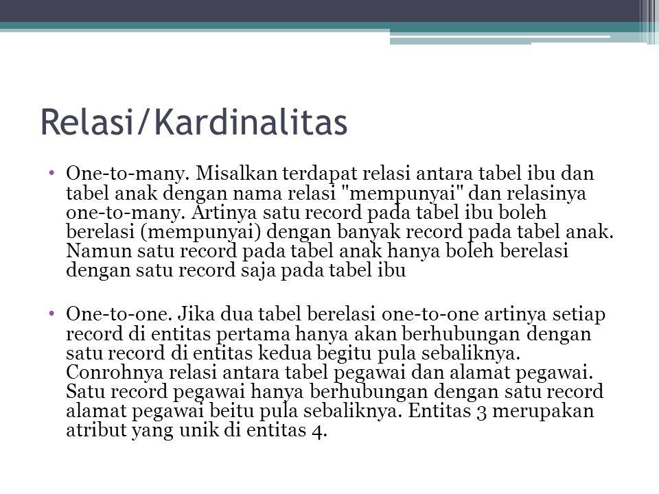 Relasi/Kardinalitas One-to-many.