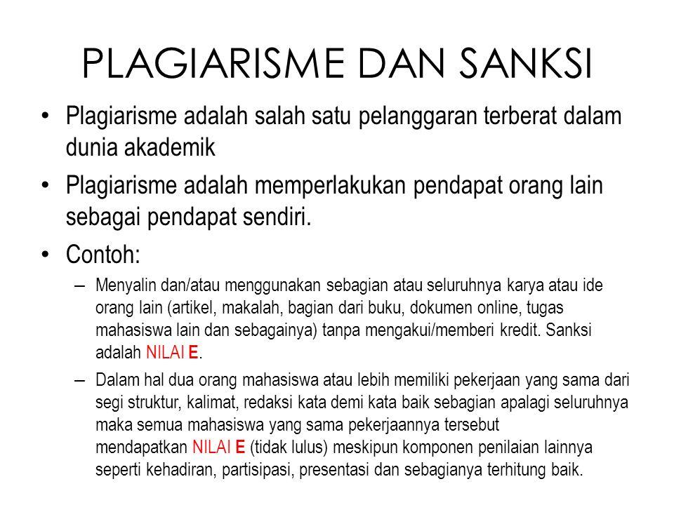 PLAGIARISME DAN SANKSI Plagiarisme adalah salah satu pelanggaran terberat dalam dunia akademik Plagiarisme adalah memperlakukan pendapat orang lain se