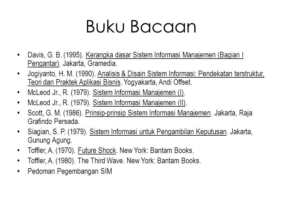 Buku Bacaan Davis, G. B. (1995). Kerangka dasar Sistem Informasi Manajemen (Bagian I Pengantar). Jakarta, Gramedia. Jogiyanto, H. M. (1990). Analisis
