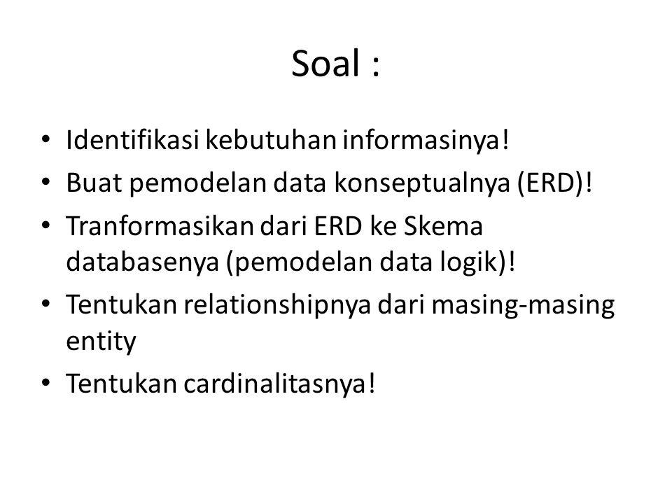 Soal : Identifikasi kebutuhan informasinya! Buat pemodelan data konseptualnya (ERD)! Tranformasikan dari ERD ke Skema databasenya (pemodelan data logi