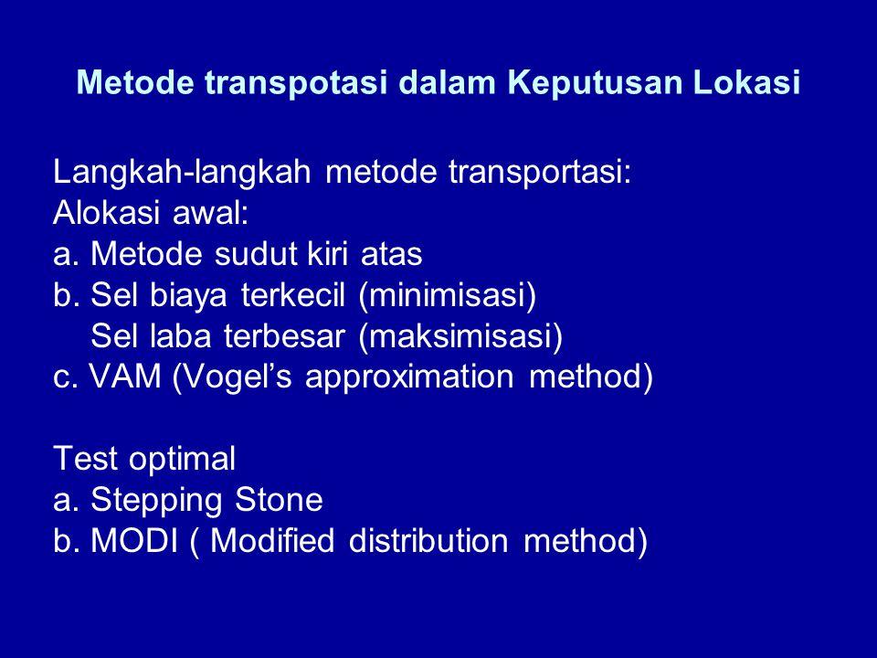Metode transpotasi dalam Keputusan Lokasi Langkah-langkah metode transportasi: Alokasi awal: a. Metode sudut kiri atas b. Sel biaya terkecil (minimisa