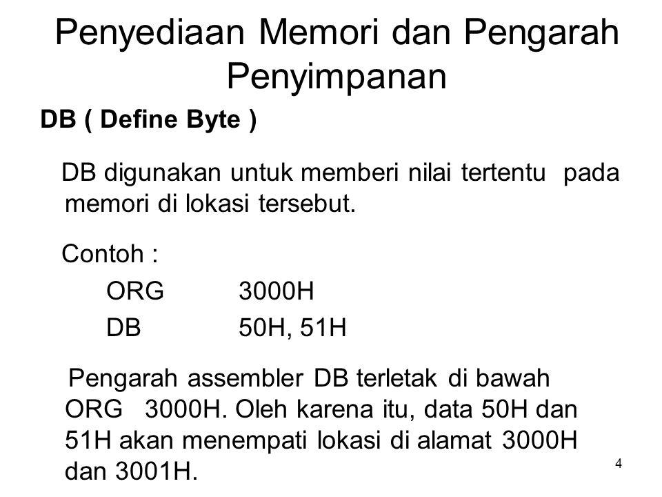 4 Penyediaan Memori dan Pengarah Penyimpanan DB ( Define Byte ) DB digunakan untuk memberi nilai tertentu pada memori di lokasi tersebut.
