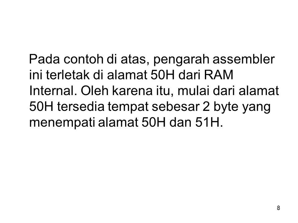 8 Pada contoh di atas, pengarah assembler ini terletak di alamat 50H dari RAM Internal.
