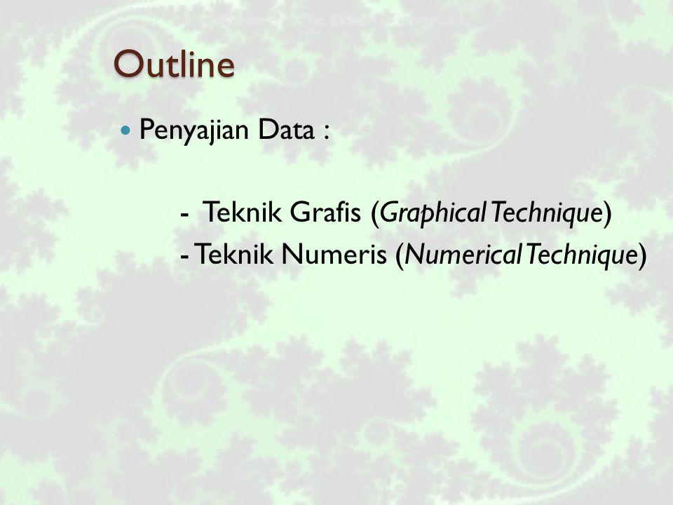 Outline Penyajian Data : - Teknik Grafis (Graphical Technique) - Teknik Numeris (Numerical Technique)