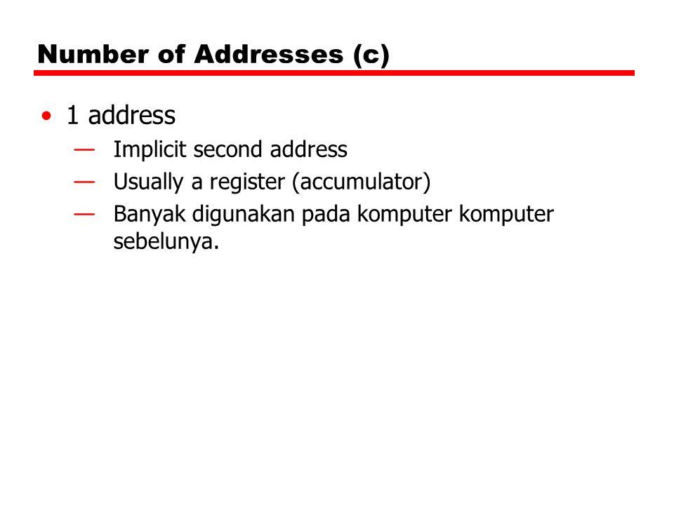 Number of Addresses (c) 1 address —Implicit second address —Usually a register (accumulator) —Banyak digunakan pada komputer komputer sebelunya.