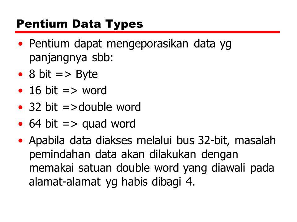Pentium Data Types Pentium dapat mengeporasikan data yg panjangnya sbb: 8 bit => Byte 16 bit => word 32 bit =>double word 64 bit => quad word Apabila data diakses melalui bus 32-bit, masalah pemindahan data akan dilakukan dengan memakai satuan double word yang diawali pada alamat-alamat yg habis dibagi 4.