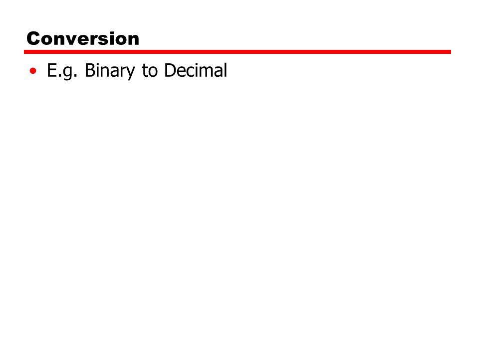 Conversion E.g. Binary to Decimal