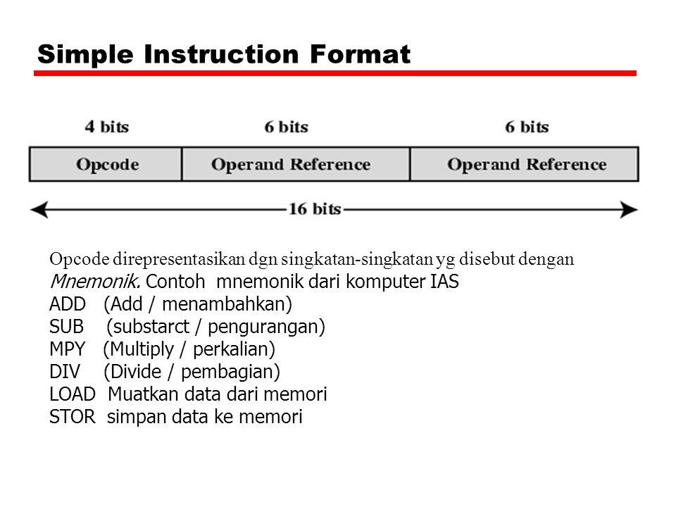 Simple Instruction Format Opcode direpresentasikan dgn singkatan-singkatan yg disebut dengan Mnemonik.