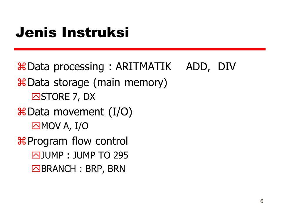 6 Jenis Instruksi zData processing : ARITMATIKADD, DIV zData storage (main memory) ySTORE 7, DX zData movement (I/O) yMOV A, I/O zProgram flow control yJUMP : JUMP TO 295 yBRANCH : BRP, BRN