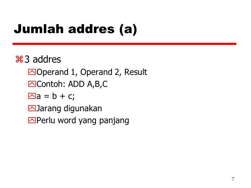 7 Jumlah addres (a) z3 addres yOperand 1, Operand 2, Result yContoh: ADD A,B,C ya = b + c; yJarang digunakan yPerlu word yang panjang