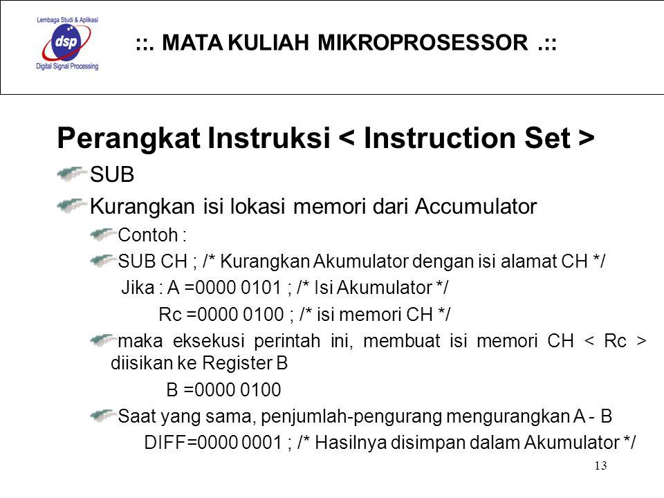 ::. MATA KULIAH MIKROPROSESSOR.:: 13 Perangkat Instruksi SUB Kurangkan isi lokasi memori dari Accumulator Contoh : SUB CH ; /* Kurangkan Akumulator de