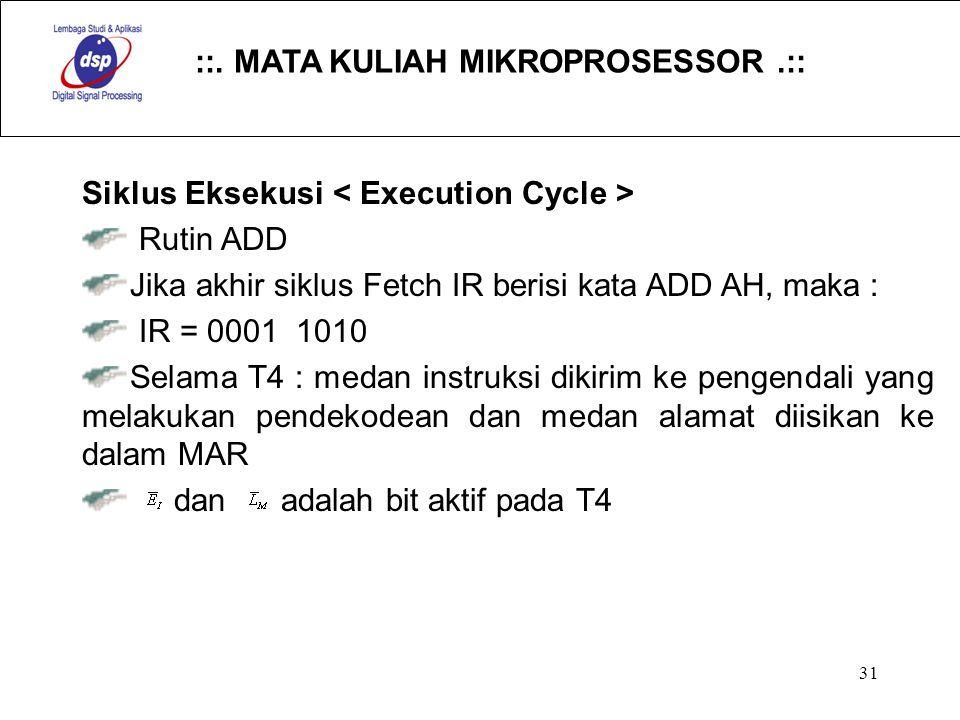 ::. MATA KULIAH MIKROPROSESSOR.:: 31 Siklus Eksekusi Rutin ADD Jika akhir siklus Fetch IR berisi kata ADD AH, maka : IR = 0001 1010 Selama T4 : medan