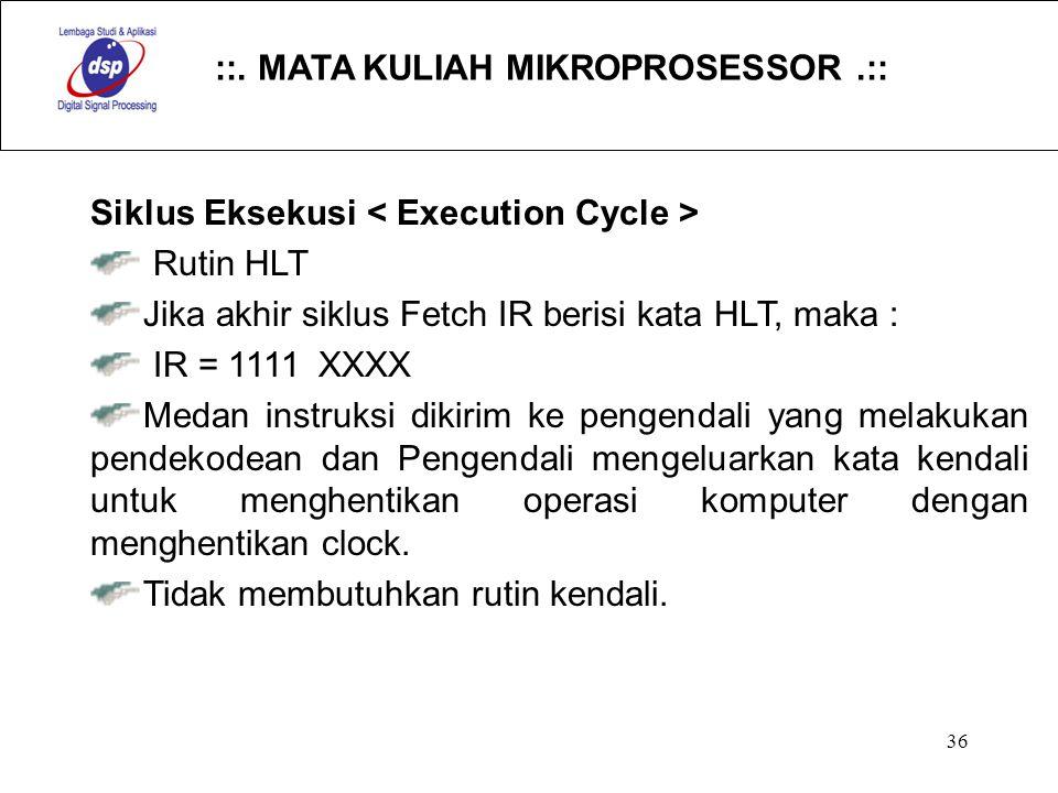 ::. MATA KULIAH MIKROPROSESSOR.:: 36 Siklus Eksekusi Rutin HLT Jika akhir siklus Fetch IR berisi kata HLT, maka : IR = 1111 XXXX Medan instruksi dikir