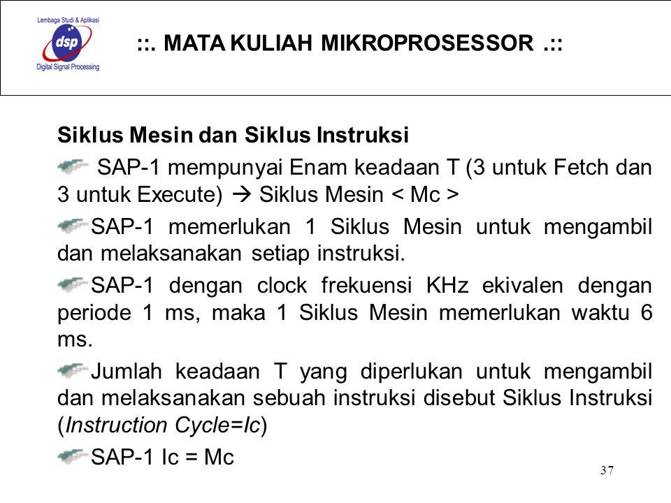 ::. MATA KULIAH MIKROPROSESSOR.:: 37 Siklus Mesin dan Siklus Instruksi SAP-1 mempunyai Enam keadaan T (3 untuk Fetch dan 3 untuk Execute)  Siklus Mes