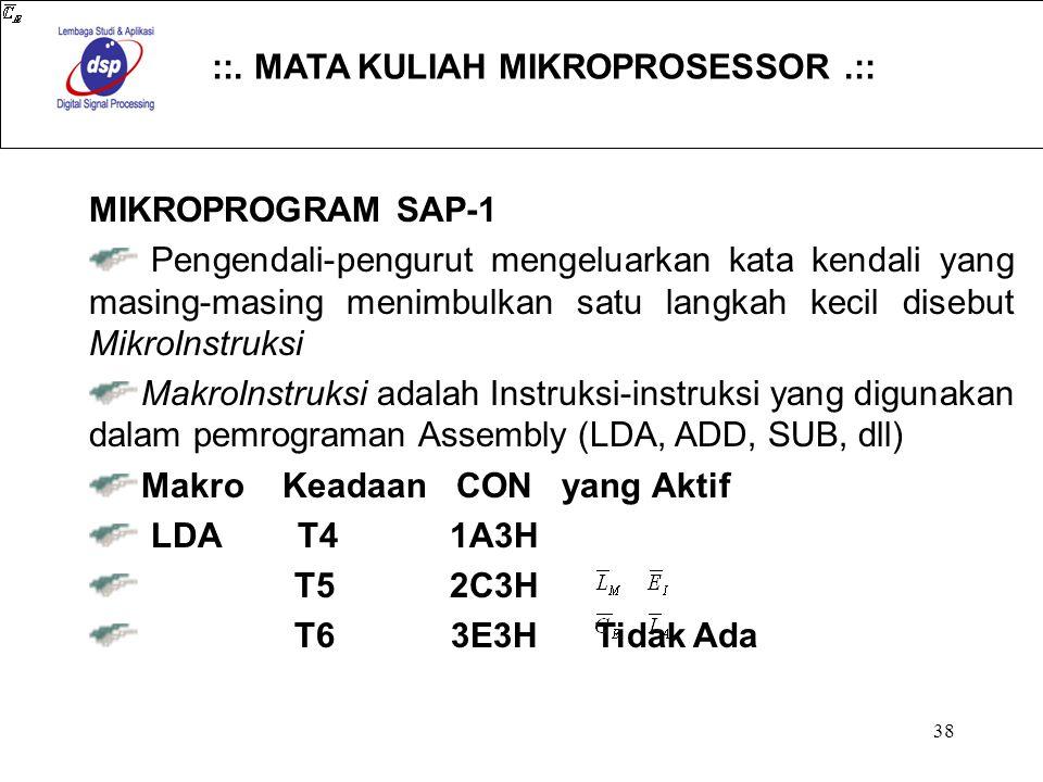 ::. MATA KULIAH MIKROPROSESSOR.:: 38 MIKROPROGRAM SAP-1 Pengendali-pengurut mengeluarkan kata kendali yang masing-masing menimbulkan satu langkah keci