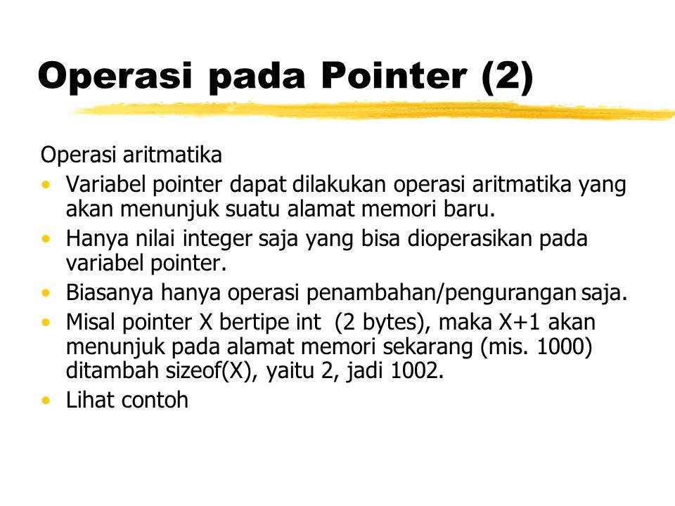 Operasi pada Pointer (2) Operasi aritmatika Variabel pointer dapat dilakukan operasi aritmatika yang akan menunjuk suatu alamat memori baru. Hanya nil