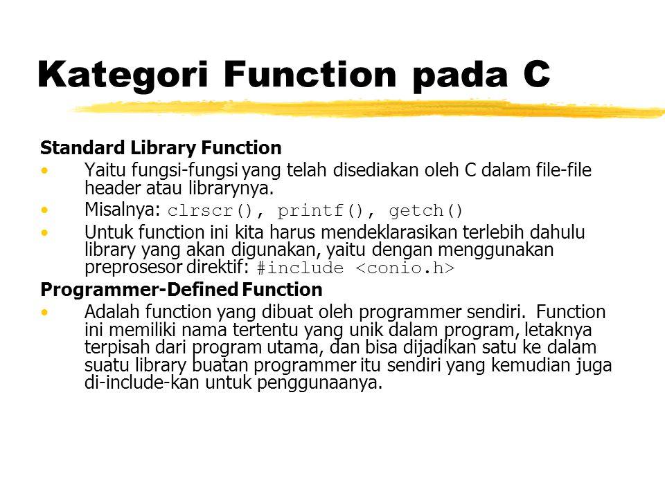 Kategori Function pada C Standard Library Function Yaitu fungsi-fungsi yang telah disediakan oleh C dalam file-file header atau librarynya. Misalnya: