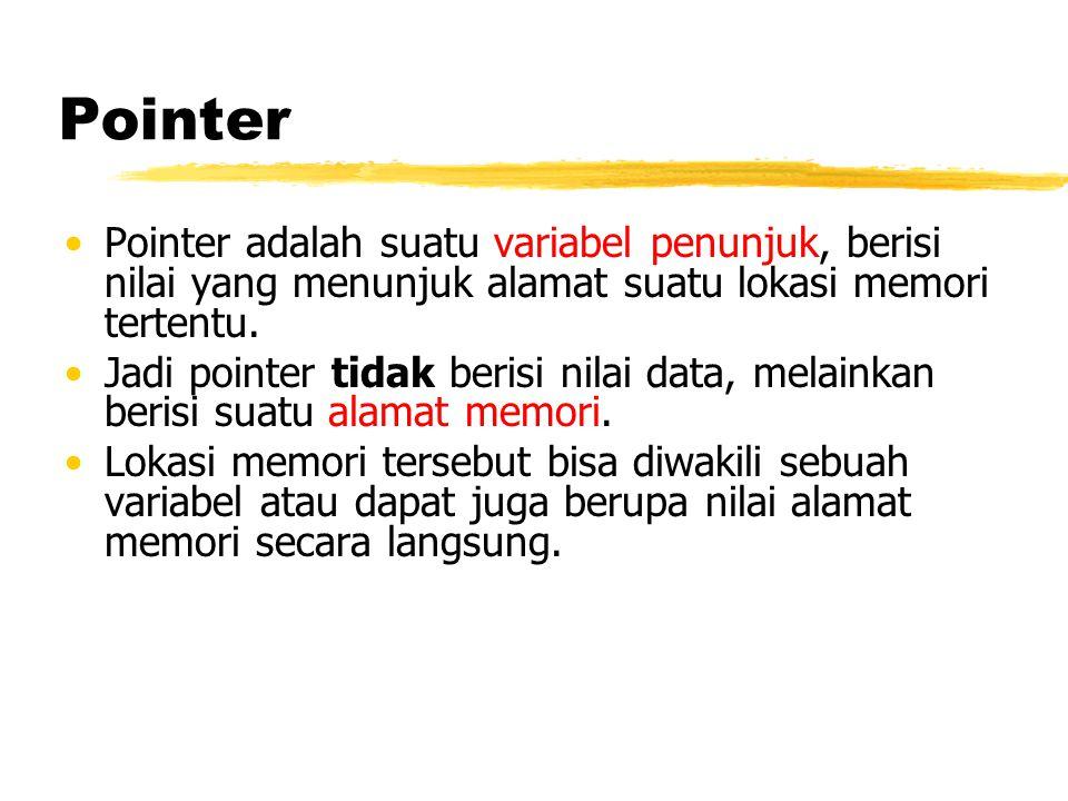 Pointer Pointer adalah suatu variabel penunjuk, berisi nilai yang menunjuk alamat suatu lokasi memori tertentu. Jadi pointer tidak berisi nilai data,