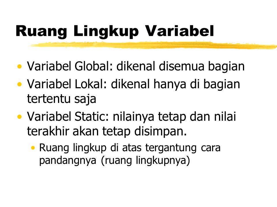 Ruang Lingkup Variabel Variabel Global: dikenal disemua bagian Variabel Lokal: dikenal hanya di bagian tertentu saja Variabel Static: nilainya tetap d