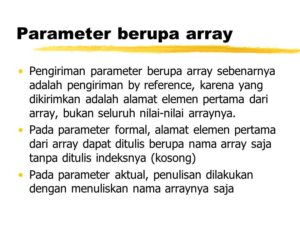 Parameter berupa array Pengiriman parameter berupa array sebenarnya adalah pengiriman by reference, karena yang dikirimkan adalah alamat elemen pertam
