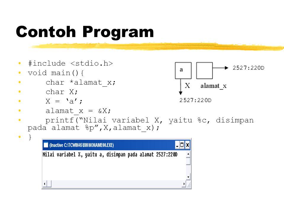 "Contoh Program #include void main(){ char *alamat_x; char X; X = 'a'; alamat_x = &X; printf(""Nilai variabel X, yaitu %c, disimpan pada alamat %p"",X,al"