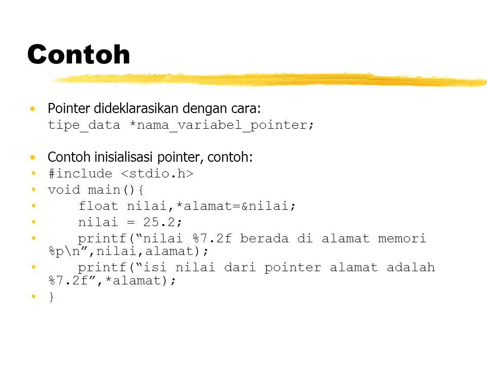 Contoh Pointer dideklarasikan dengan cara: tipe_data *nama_variabel_pointer; Contoh inisialisasi pointer, contoh: #include void main(){ float nilai,*a
