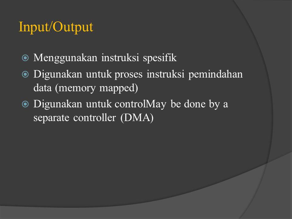 Input/Output  Menggunakan instruksi spesifik  Digunakan untuk proses instruksi pemindahan data (memory mapped)  Digunakan untuk controlMay be done