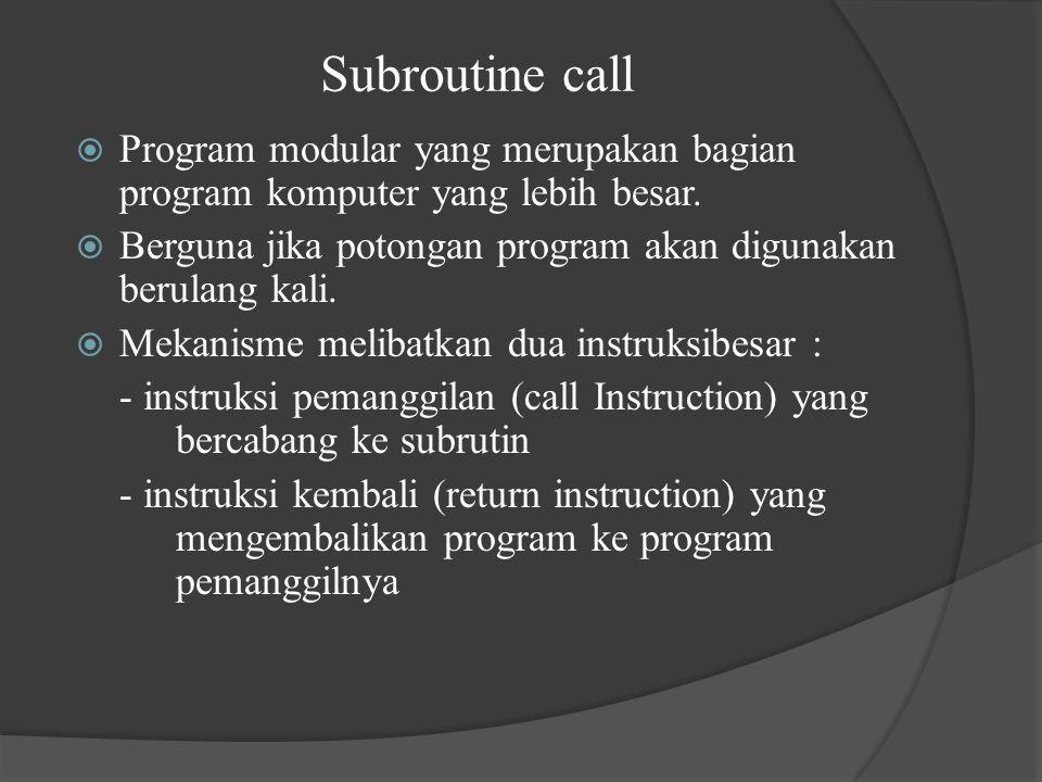 Subroutine call  Program modular yang merupakan bagian program komputer yang lebih besar.  Berguna jika potongan program akan digunakan berulang kal