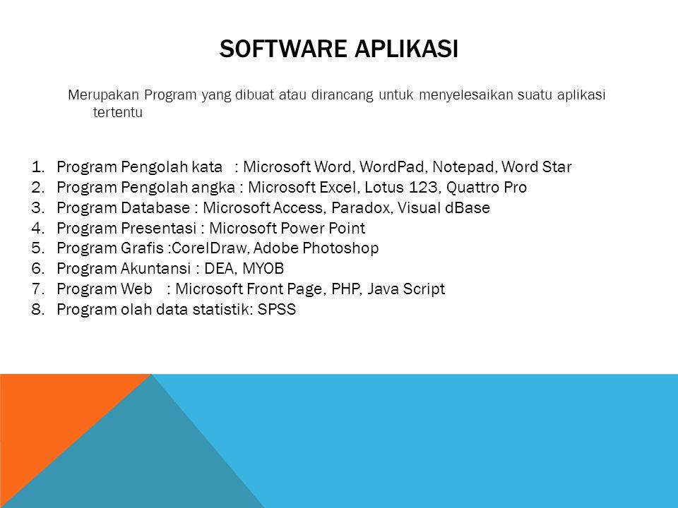 SOFTWARE APLIKASI Merupakan Program yang dibuat atau dirancang untuk menyelesaikan suatu aplikasi tertentu 1.Program Pengolah kata: Microsoft Word, Wo