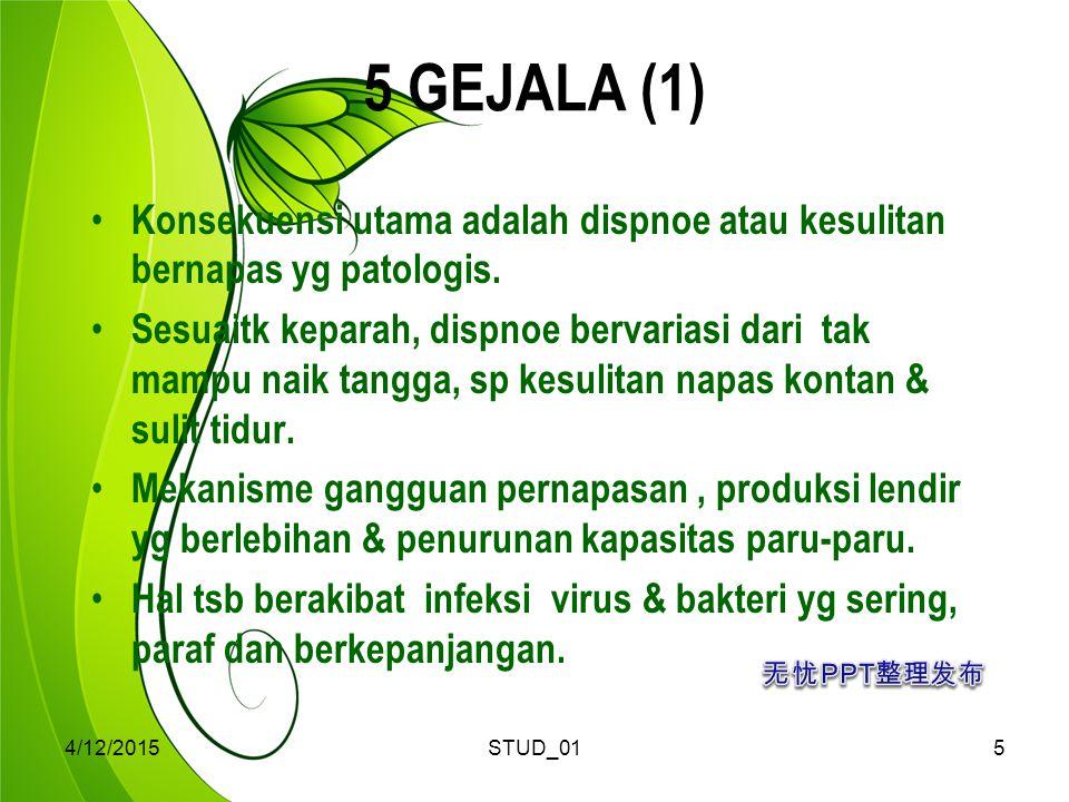 4/12/2015STUD_015 5 GEJALA (1) Konsekuensi utama adalah dispnoe atau kesulitan bernapas yg patologis. Sesuaitk keparah, dispnoe bervariasi dari tak ma