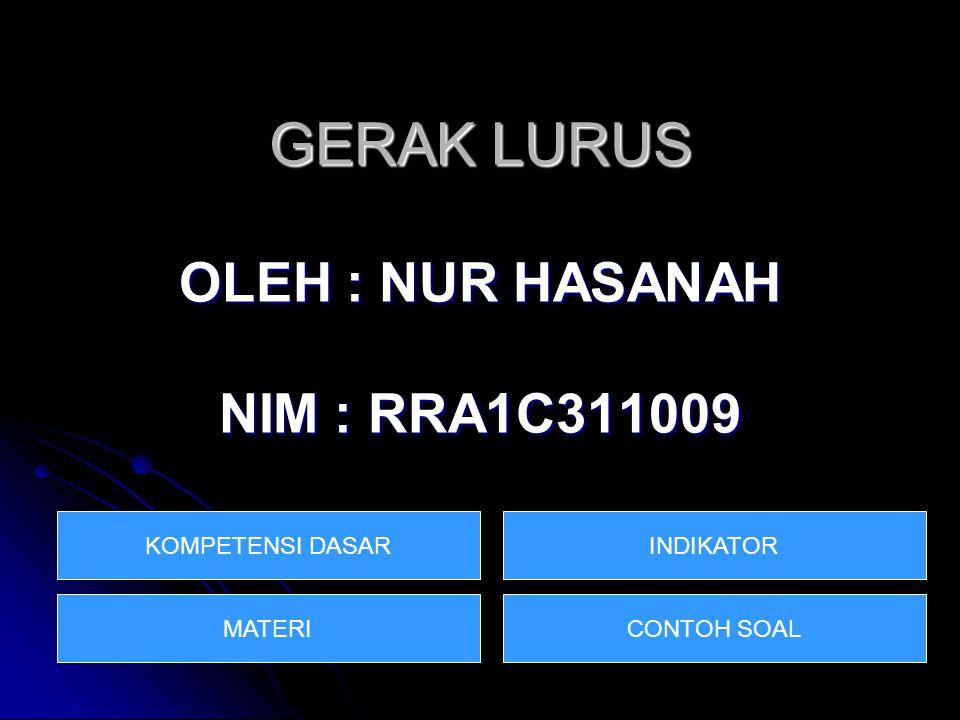 GERAK LURUS OLEH : NUR HASANAH NIM : RRA1C311009 KOMPETENSI DASAR MATERICONTOH SOAL INDIKATOR
