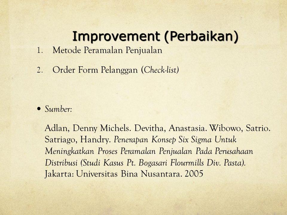Improvement (Perbaikan) 1.Metode Peramalan Penjualan 2.