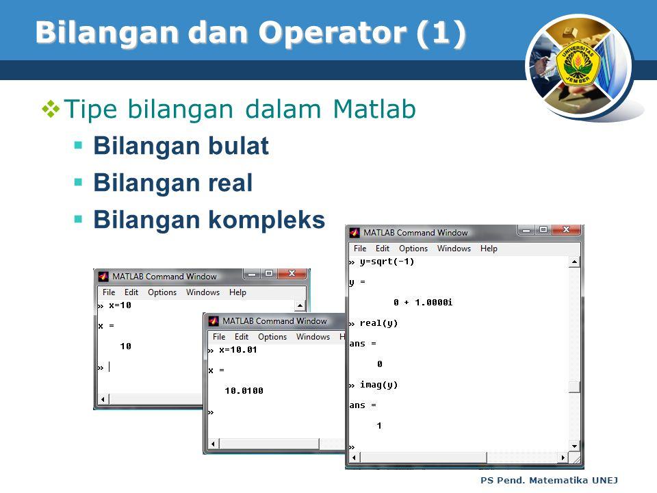 PS Pend. Matematika UNEJ Bilangan dan Operator (1)  Tipe bilangan dalam Matlab  Bilangan bulat  Bilangan real  Bilangan kompleks