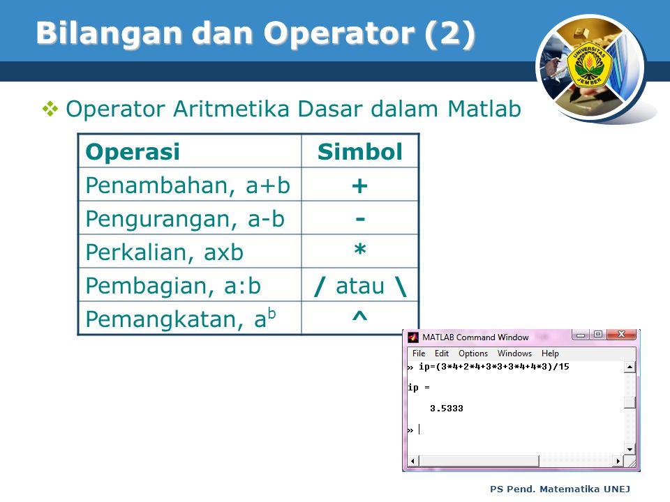 PS Pend. Matematika UNEJ Bilangan dan Operator (2)  Operator Aritmetika Dasar dalam Matlab OperasiSimbol Penambahan, a+b+ Pengurangan, a-b- Perkalian