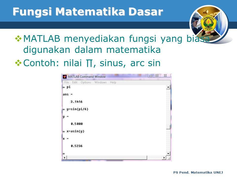 PS Pend. Matematika UNEJ Fungsi Matematika Dasar  MATLAB menyediakan fungsi yang biasa digunakan dalam matematika  Contoh: nilai ∏, sinus, arc sin