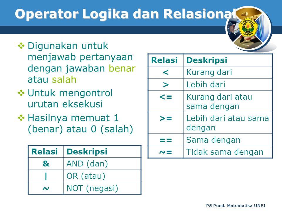 PS Pend. Matematika UNEJ Operator Logika dan Relasional  Digunakan untuk menjawab pertanyaan dengan jawaban benar atau salah  Untuk mengontrol uruta