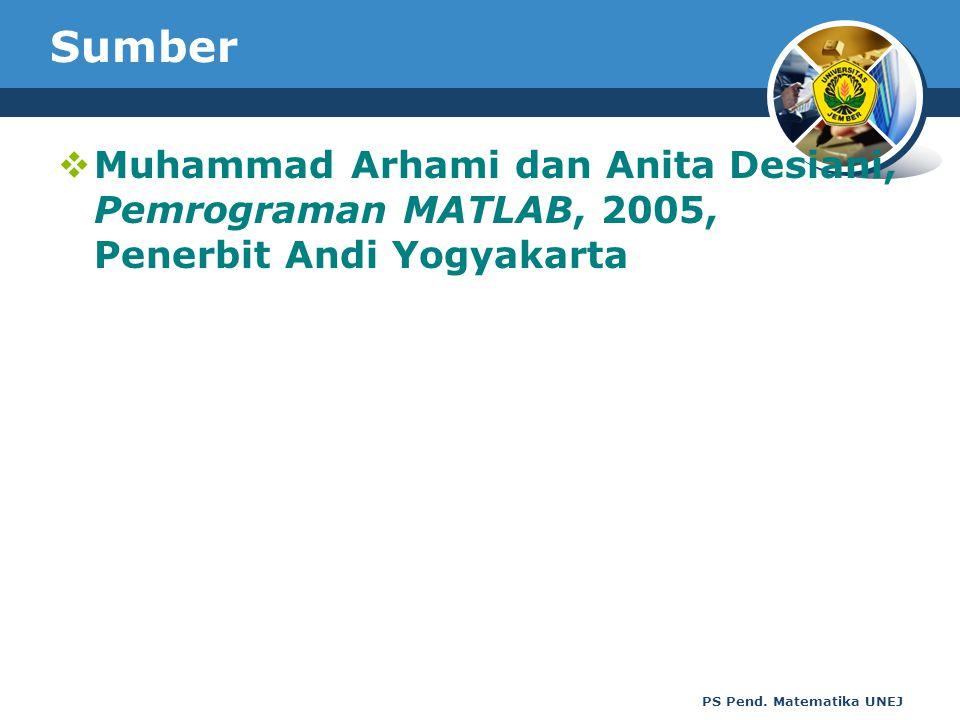 PS Pend. Matematika UNEJ Sumber  Muhammad Arhami dan Anita Desiani, Pemrograman MATLAB, 2005, Penerbit Andi Yogyakarta