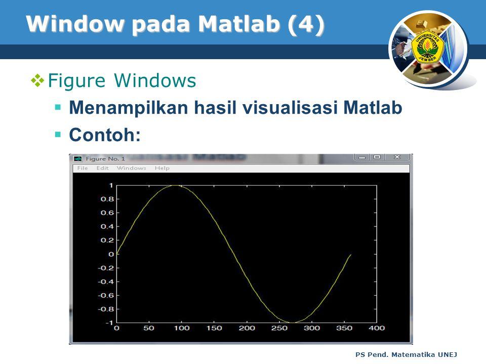 PS Pend. Matematika UNEJ Window pada Matlab (4)  Figure Windows  Menampilkan hasil visualisasi Matlab  Contoh: