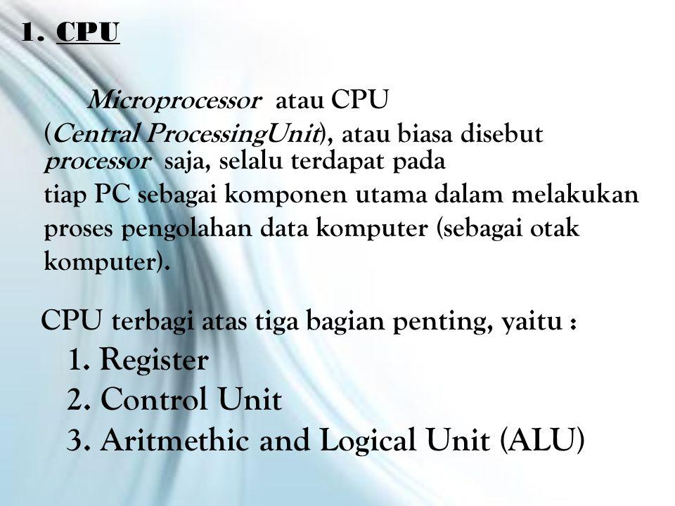 1.CPU Microprocessor atau CPU (Central ProcessingUnit), atau biasa disebut processor saja, selalu terdapat pada tiap PC sebagai komponen utama dalam melakukan proses pengolahan data komputer (sebagai otak komputer).
