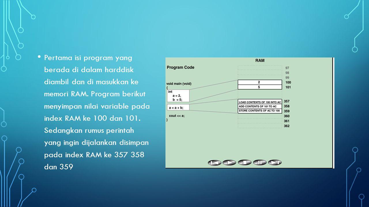 Ketika register siap untuk menerima pengerjaan eksekusi, maka Control Unit akan mengambil instruksi dari memori RAM 357 untuk ditampungkan ke Instruction Register, sedangkan alamat memori 357 yang berisikan perintah tersebut ditampung di Program Counter.
